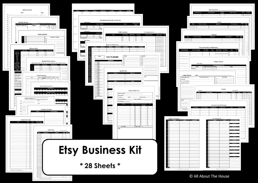Etsy Business planner printable black ink friendly