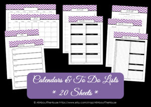 Calendars and to do lists printable planner household binder