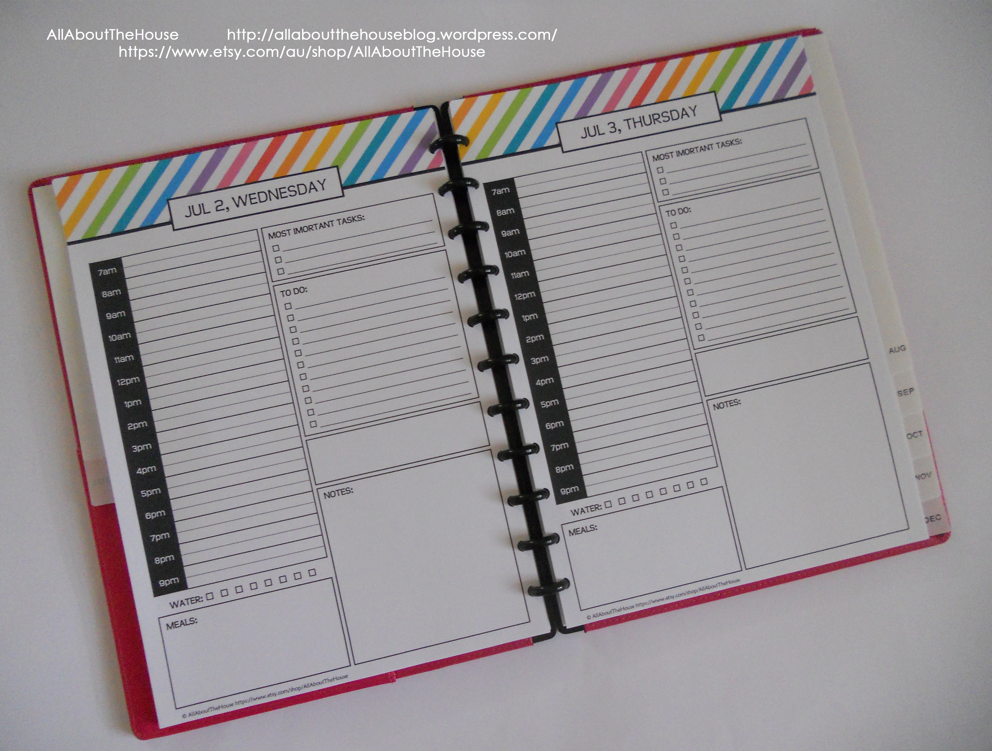 My 2015 Printable Rainbow Daily Planner