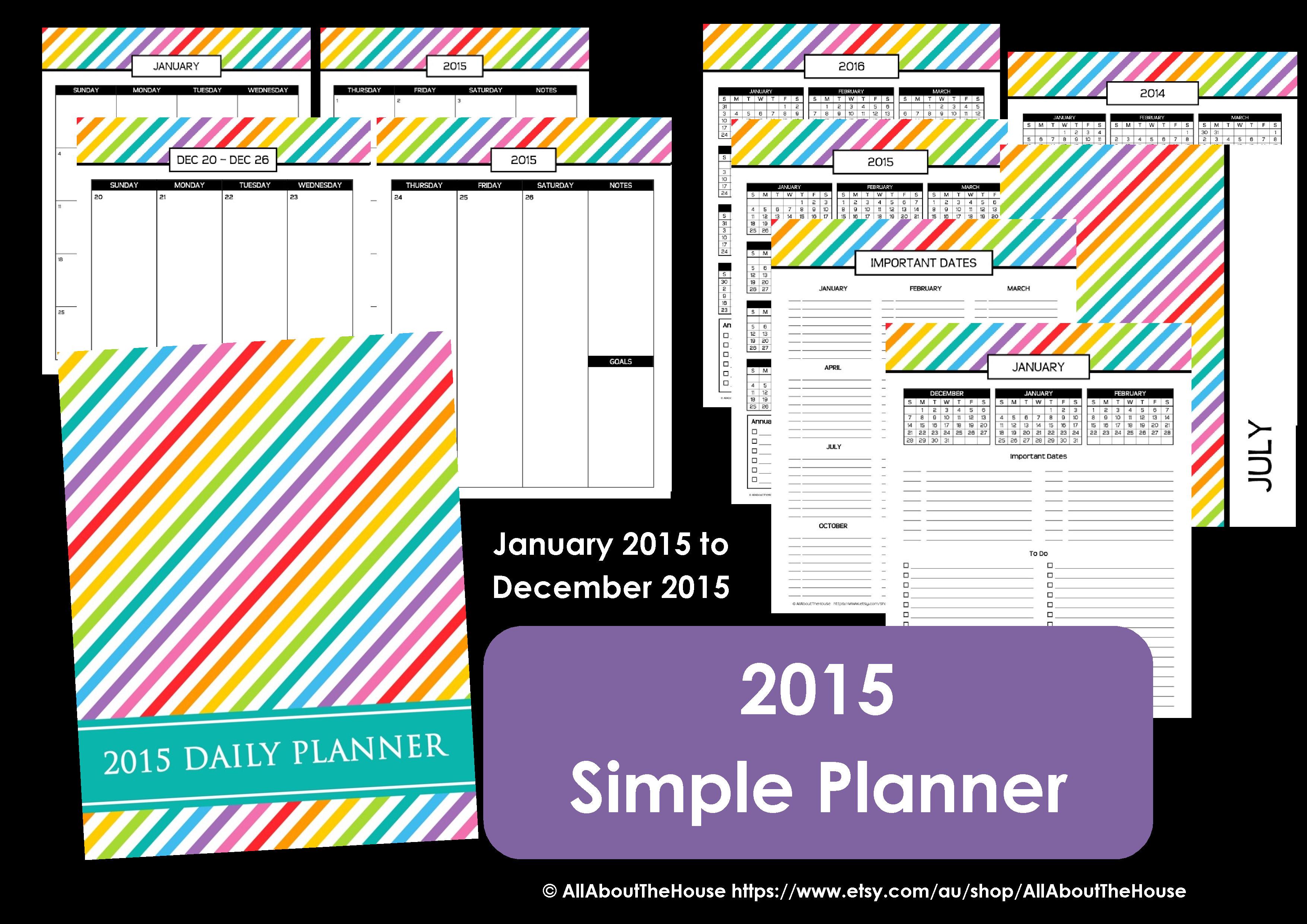 My 2015 Printable Rainbow Daily Planner