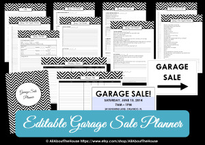 Editable printable garage sale planner
