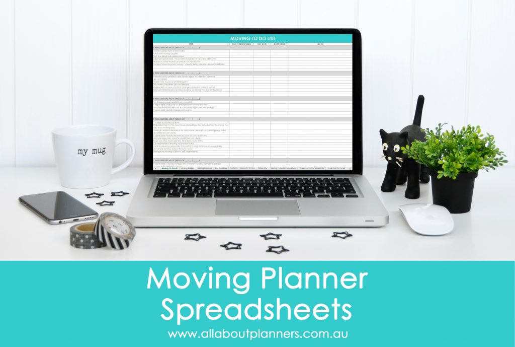 Moving planner spreadsheets template excel checklist countdown to do contacts change of address box inventory moving estimates comparison quotes questions to ask