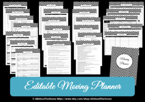 Editable moving planner printables