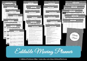 Editable moving planner printables