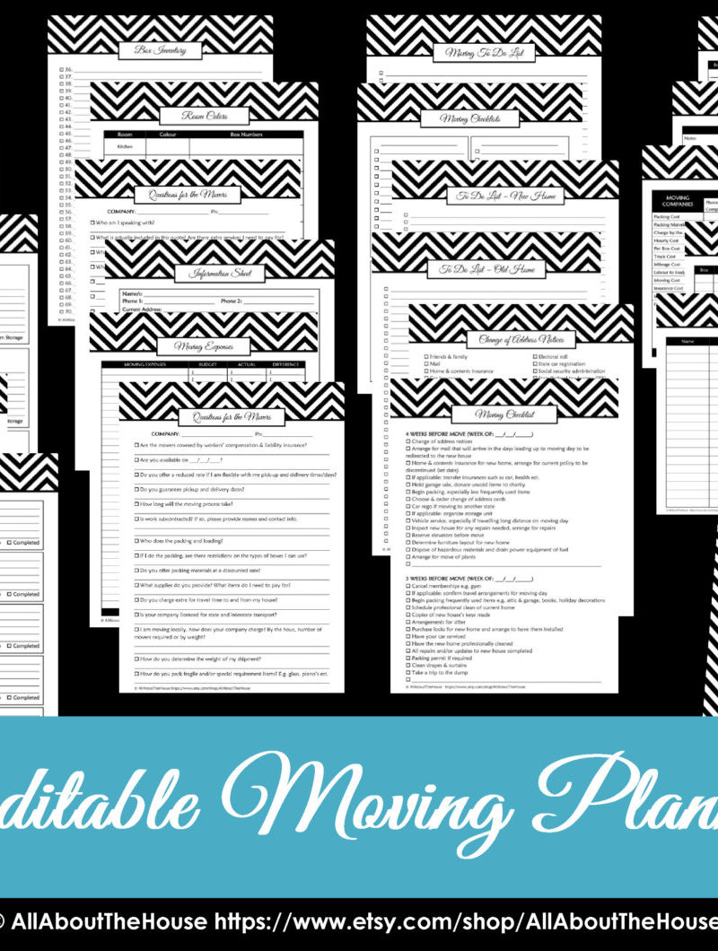 moving planner printable editable organizer household binder chevron a5 letter size homekeeping notebook checklist