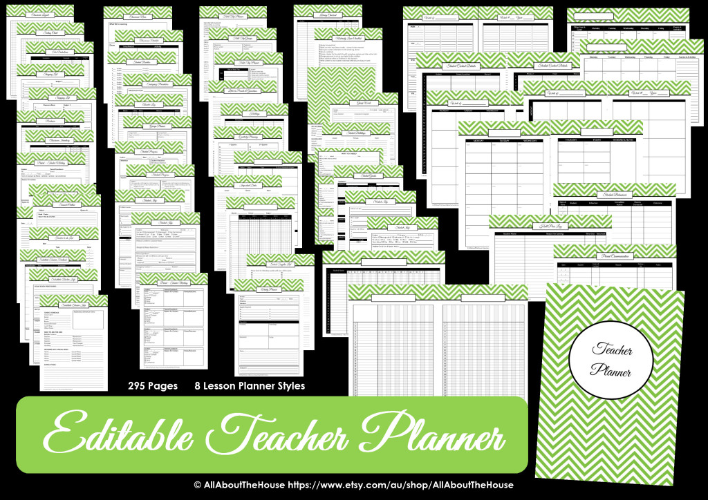 editable printable teacher planner - letter size can print at half size