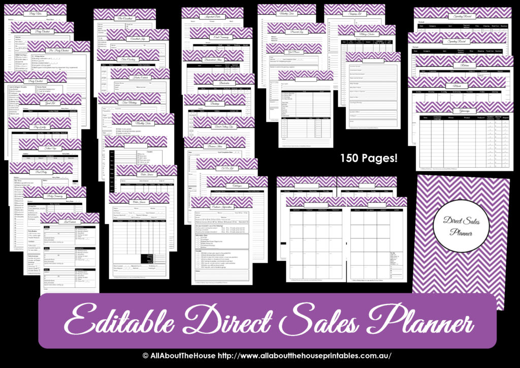 editable direct sales printable planner editable chevron thirty one origami owl scentsy mary kay organize pdf work at home self employed