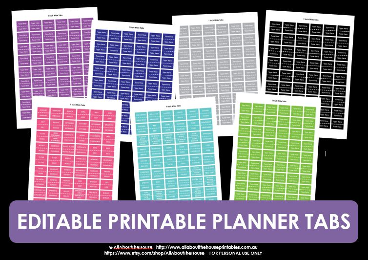 editable printable planner tabs diy planner accessory school tab filing home binder budget finance school memorabilia keepsake monthly planner tab pink blue green purple