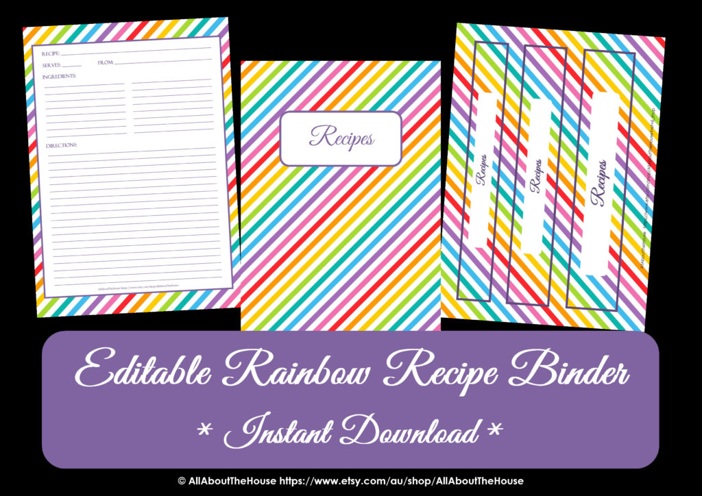 FREE Editable Printable rainbow recipe binder