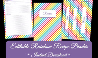 FREE Rainbow Recipe Binder Printables – EDITABLE