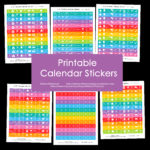 Printable Rainbow Calendar Stickers for Erin Condren Planner (or any type of planner)