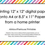 Printing 12″ x 12″ digital paper onto A4 or 8.5″ x 11″ Paper from a home printer