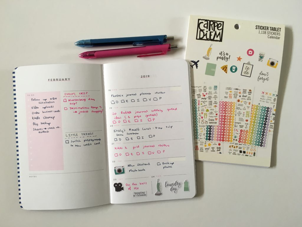using the may designs notebook carpe diem planner stickers simple minimalist pink and blue theme spread