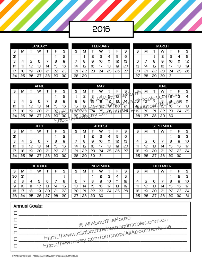 FREE 2016 dates at a glance annual planner calendar