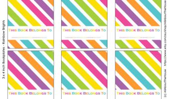 FREE Printable Rainbow Bookplate Labels