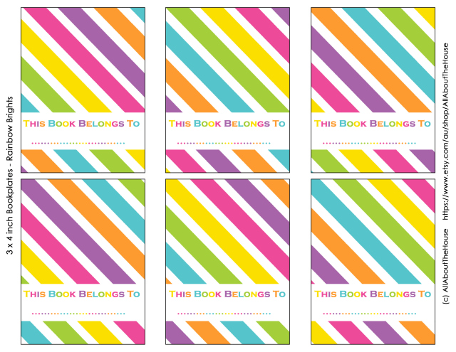FREE printable rainbow bookplate labels
