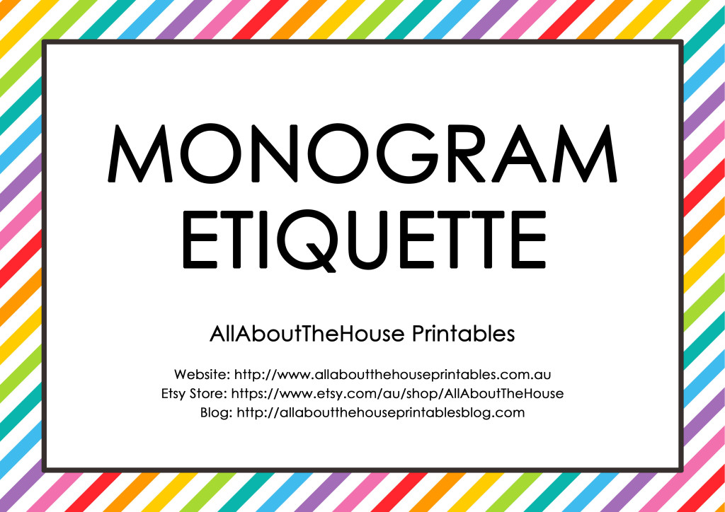 Monogram Etiquette - 3 letter monograms, married couples, hyphenated last name monograms