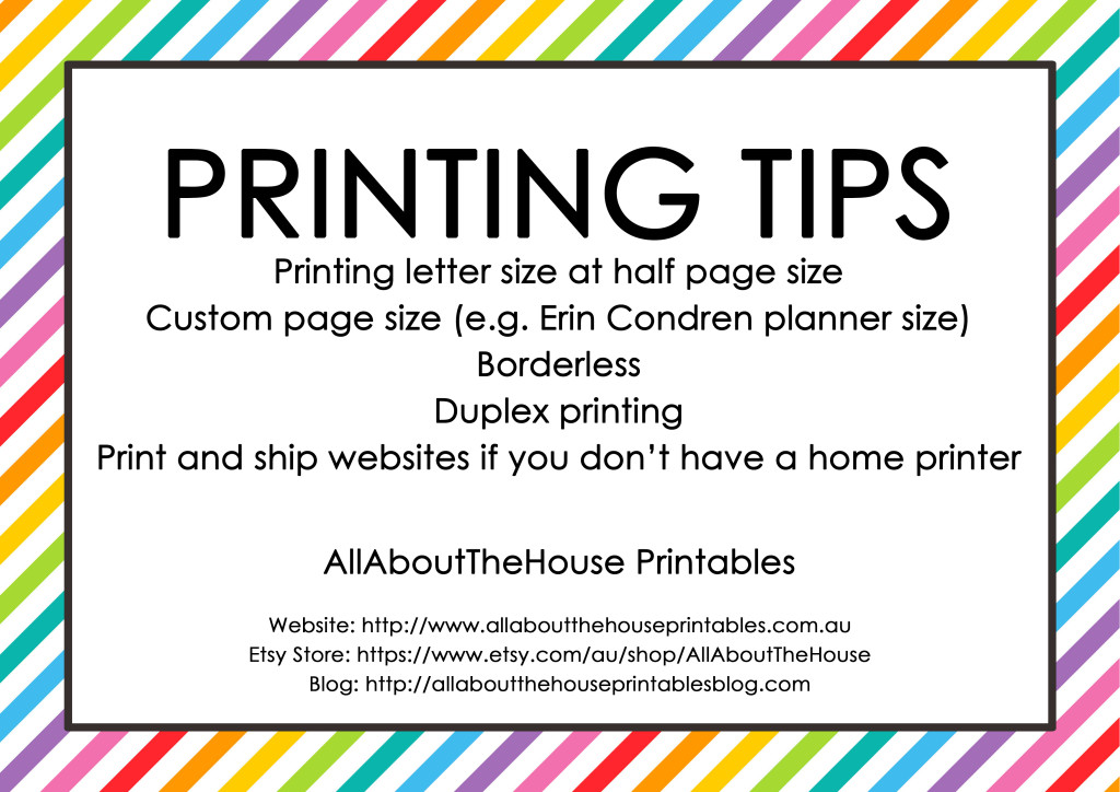 Printing tips half size custom page size erin condren insert page size duplex printing borderless printing
