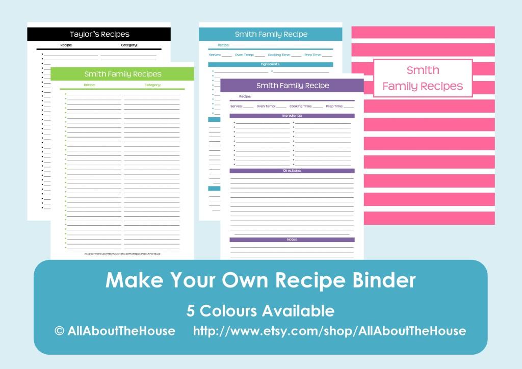 editable recipe binder printables - recipe sheet, recipe binder cover, spine, favourite recipes favorite recipes