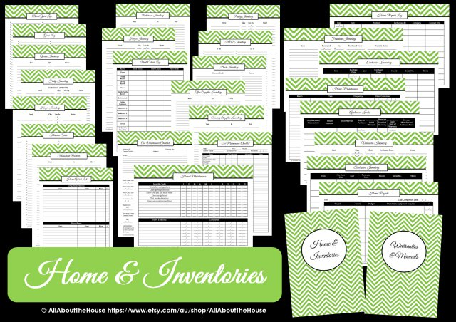 Home inventories planner printables household binder