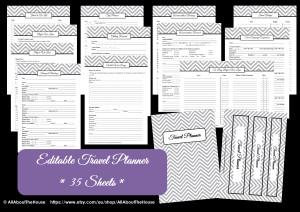 Editable Printable Travel Planner