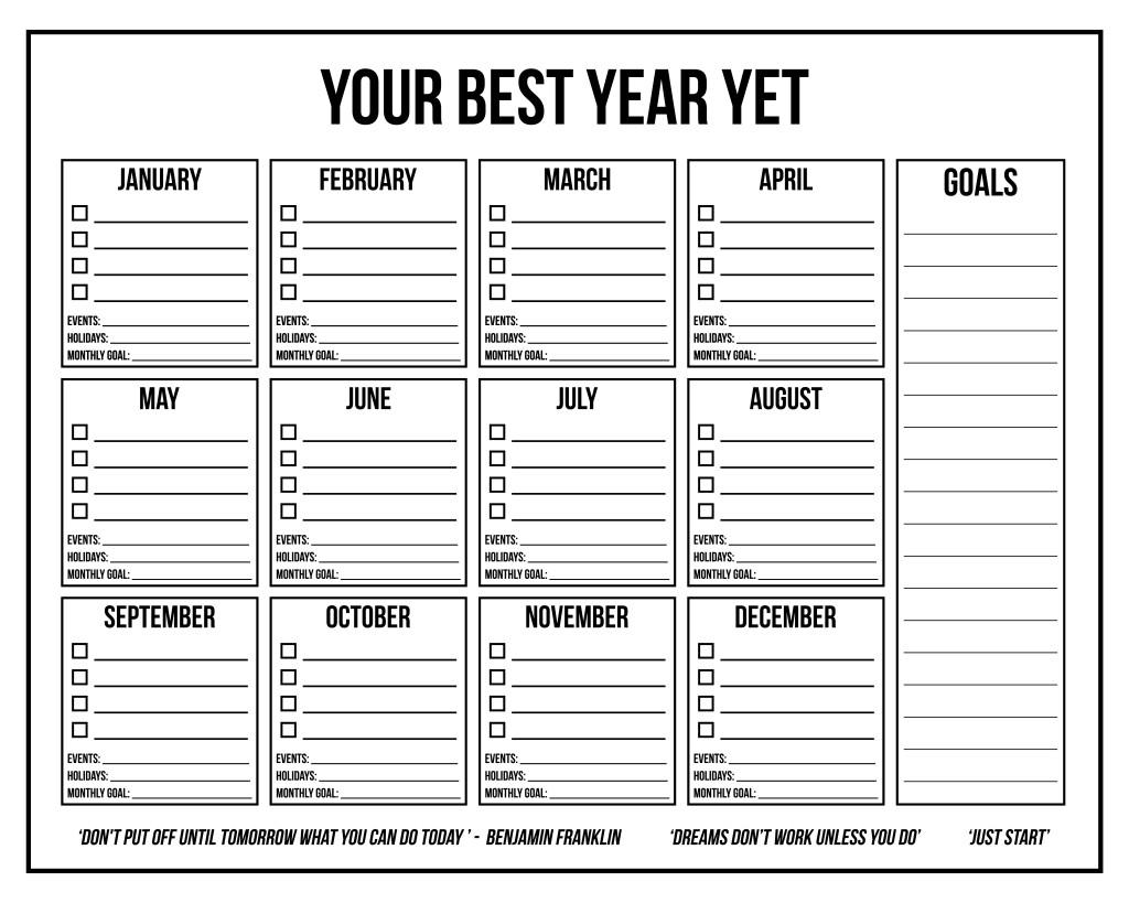 16 x 20 Inspiration Wall Calendar 1 - AllAboutTheHouse FREE printable annual wall calendar goal setting printables