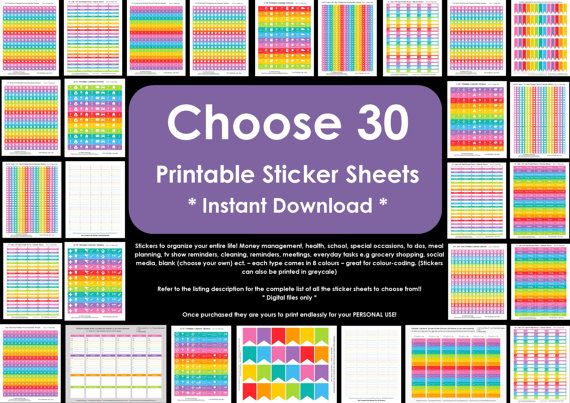 choose 30 printable planner stickers allaboutthehouse, planner accessory, erin condren, plum paper, limelife, inkwell press