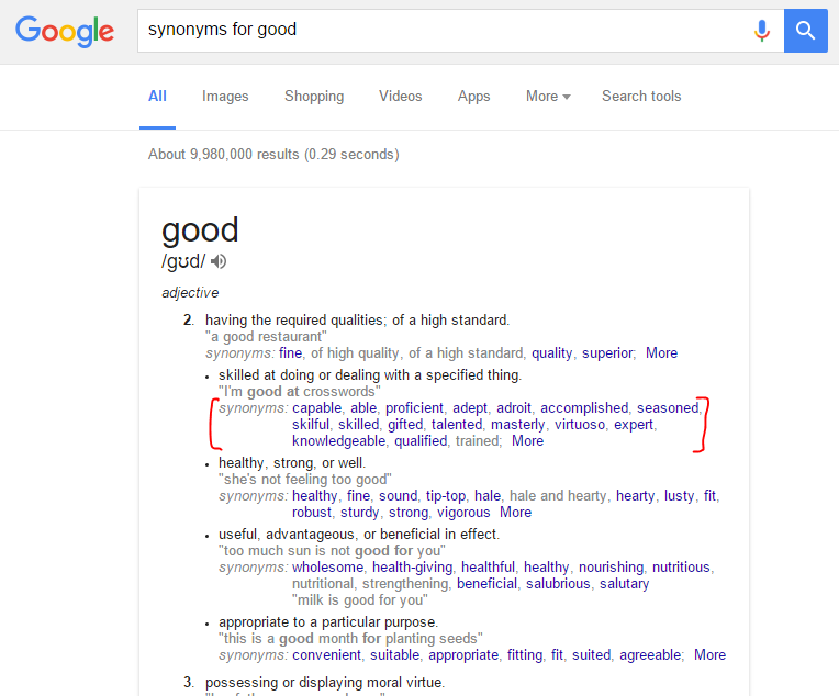 Use Google synonyms tool to create blog post titles and find keywords for your blog posts