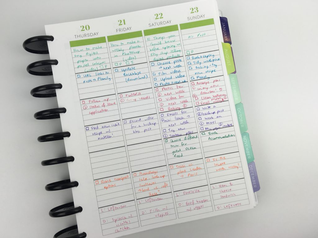 plum paper me planner review color coding arcing planning inspiration ideas spread blogging family student school