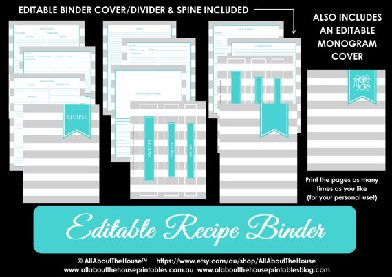 editable printable recipe binder grey aqua turquoise blue monogram recipes to try card organize meal plan index