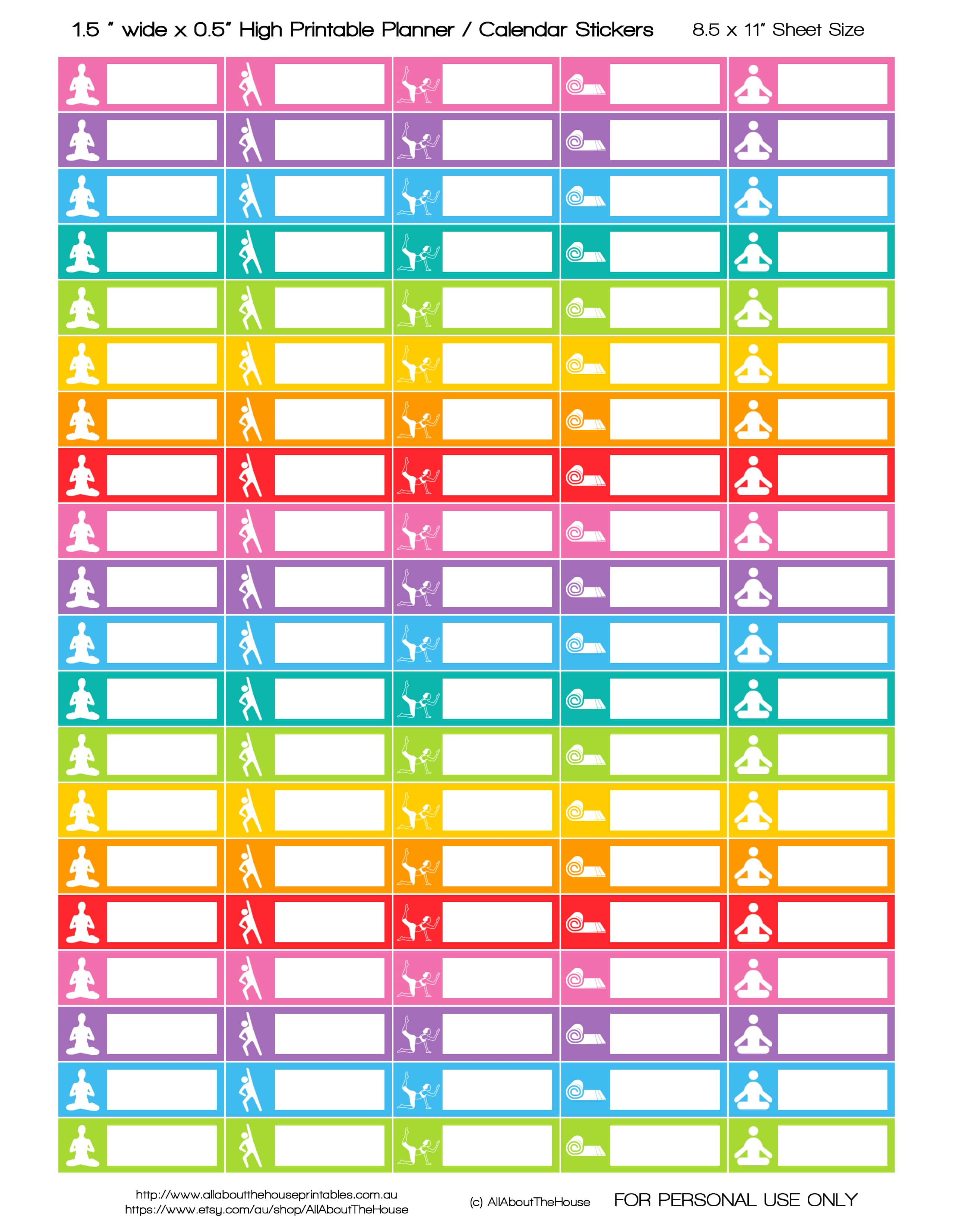 Free printable yoga planner stickers for Planner to print