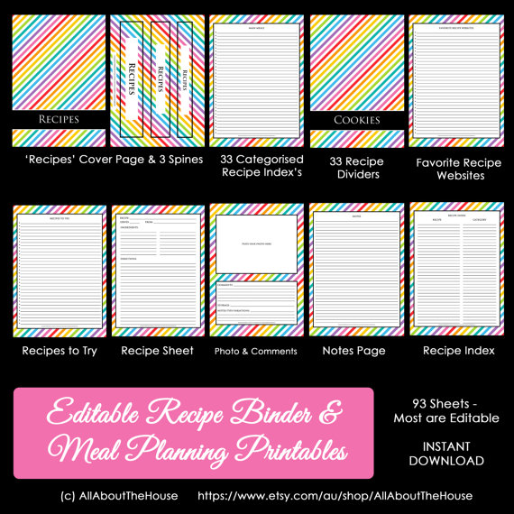 rainbow recipe binder printable planner recipe card sheet cooking organization recipes to try index meal planner