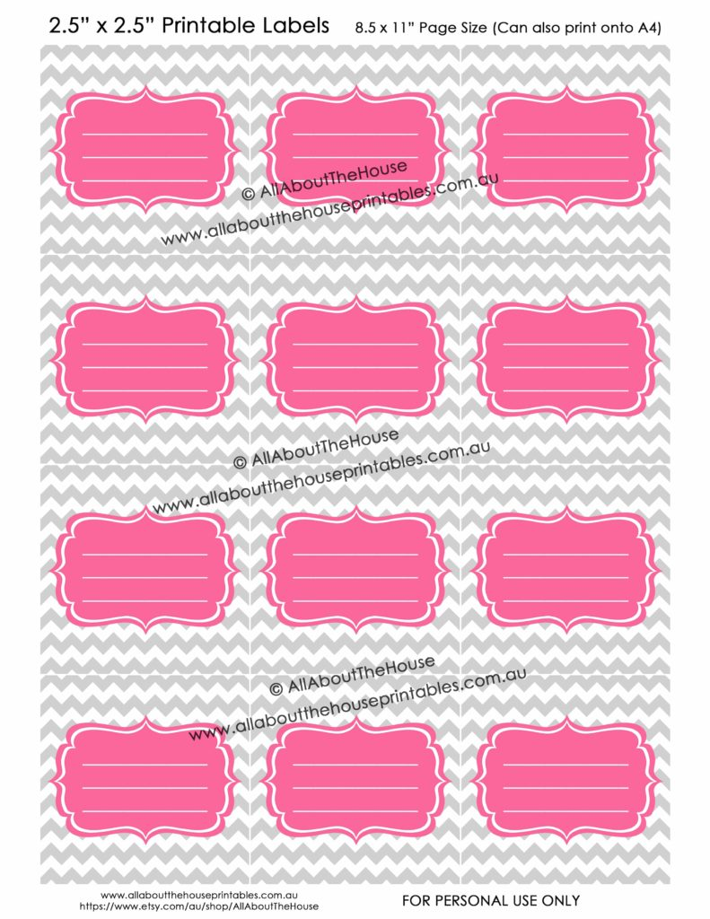 Blank Lined Labels - Grey Chevron Pink printable stickers pantry kitchen organization storage box vinyl bin christmas decoration contents editable-min