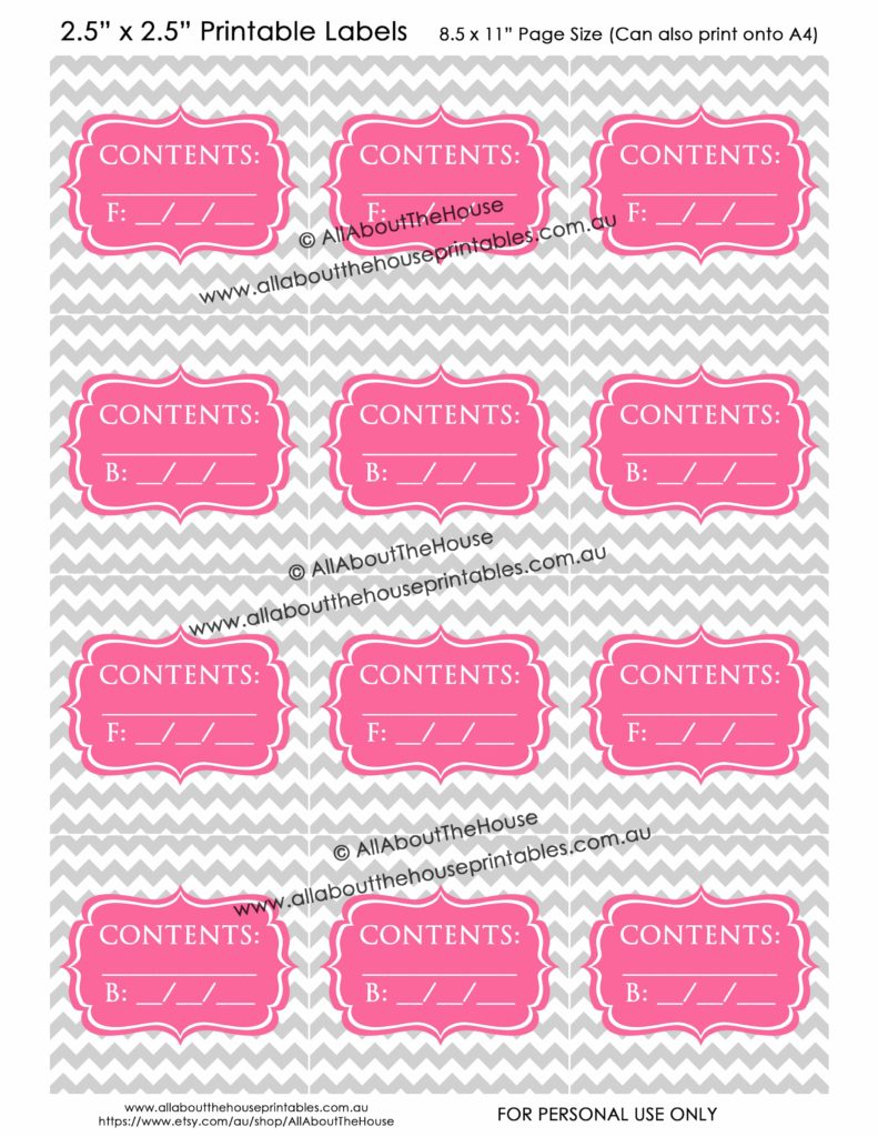 Contents Labels - Grey Chevron Pink printable blank storage box sticker christmas decorations toys kitchen pantry craft scrapbooking organize 1-min