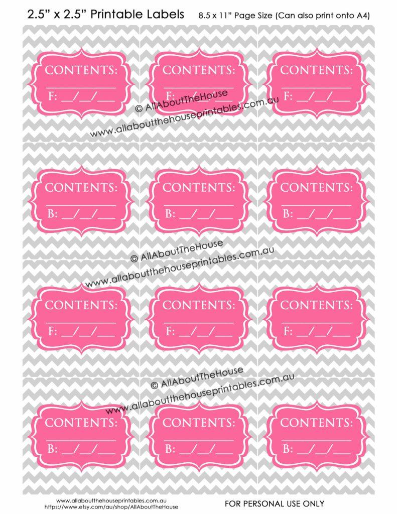 Contents Labels - Grey Chevron Pink printable blank storage box sticker christmas decorations toys kitchen pantry craft scrapbooking organize 1-min