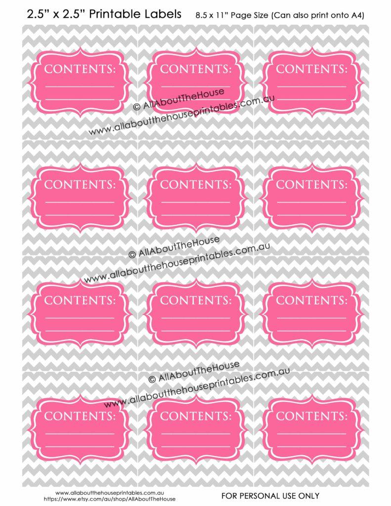 Contents Labels - Grey Chevron Pink printable blank storage box sticker christmas decorations toys kitchen pantry craft scrapbooking organize-min