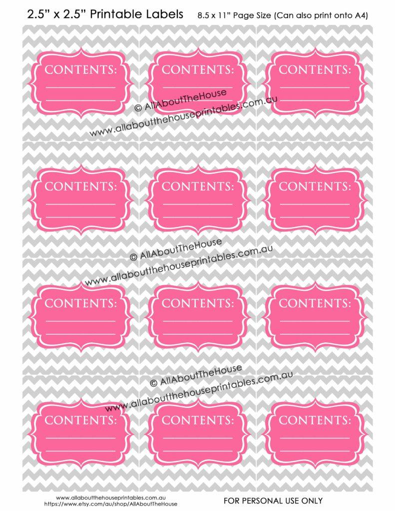 Contents Labels - Grey Chevron Pink printable blank storage box sticker christmas decorations toys kitchen pantry craft scrapbooking organize-min