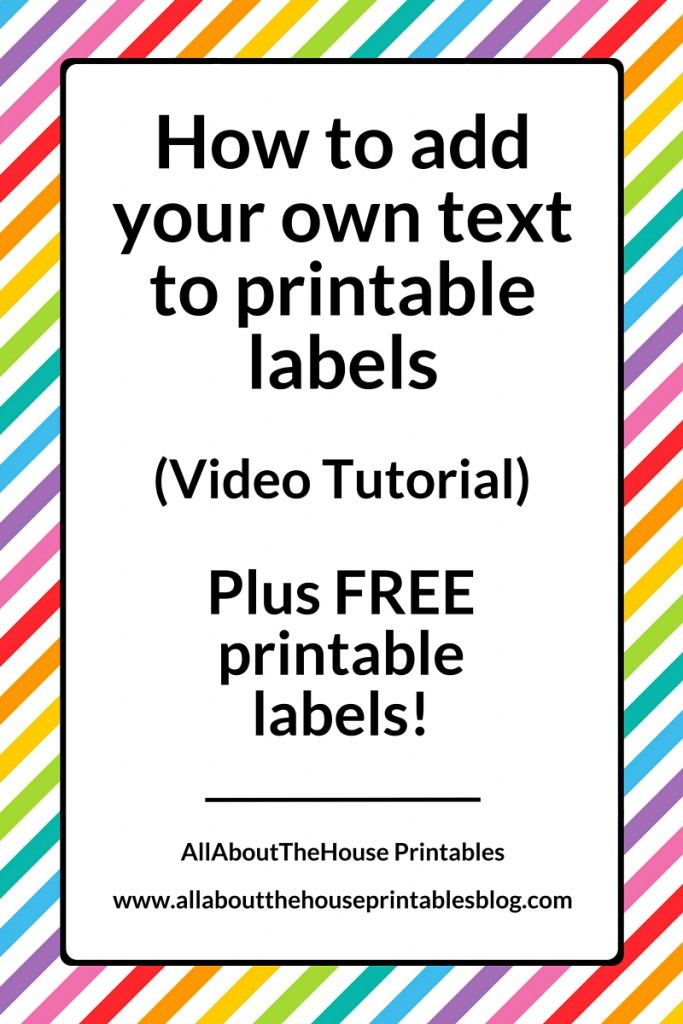 How to add your own text to printable labels plus free for How to print your own labels