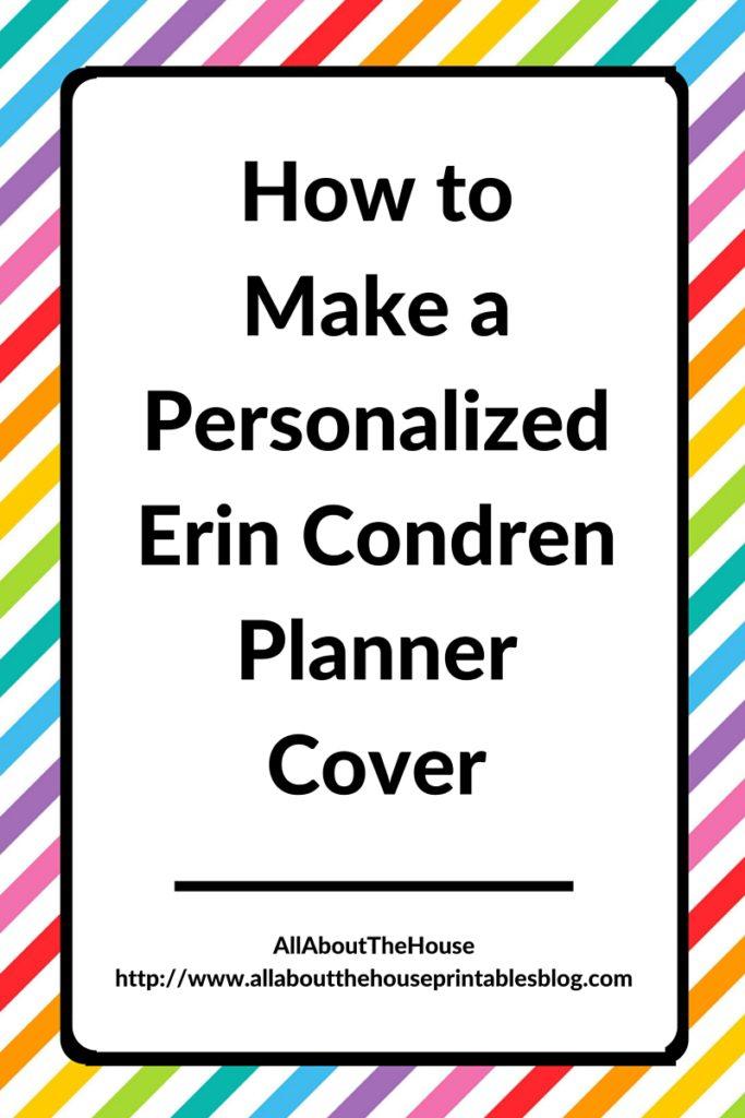 How to make a personalized Erin Condren Planner Cover printable editable preppy chevron polka dot stripe notebook binder custom