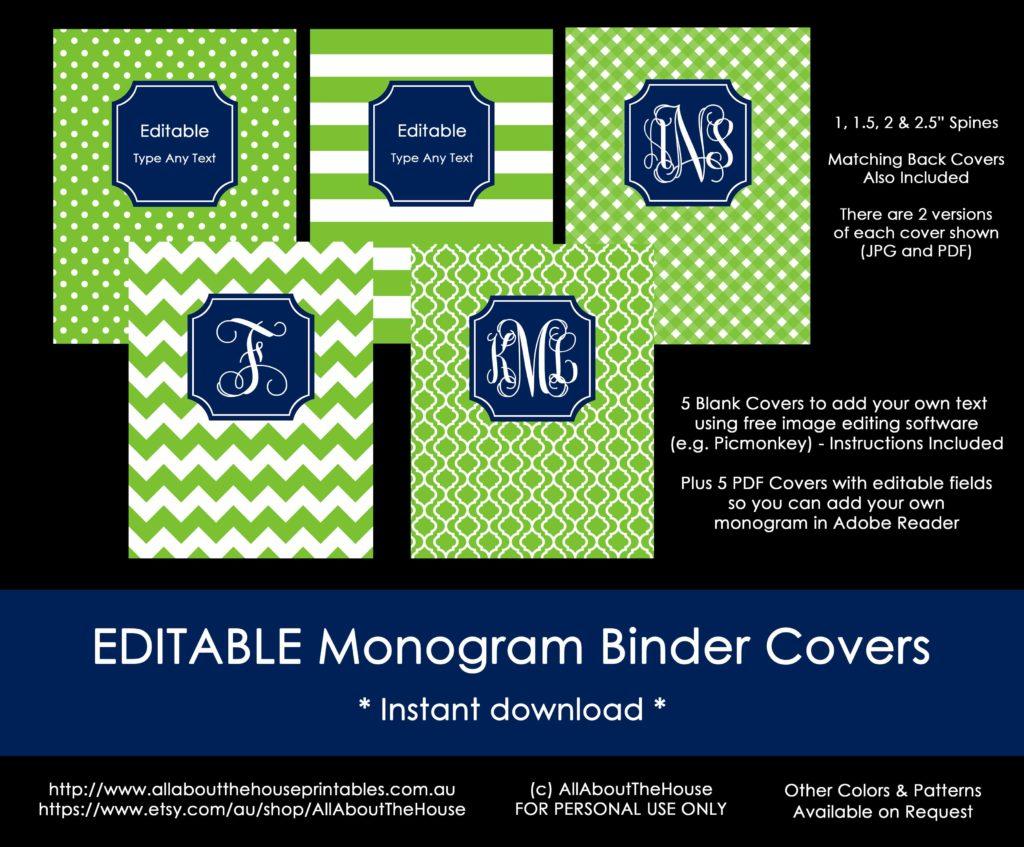 Monogram Binder Cover Set Editable Navy Green Preppy Printable DIY Notebook chevron gingham polka dots quatrefoil stripes-min