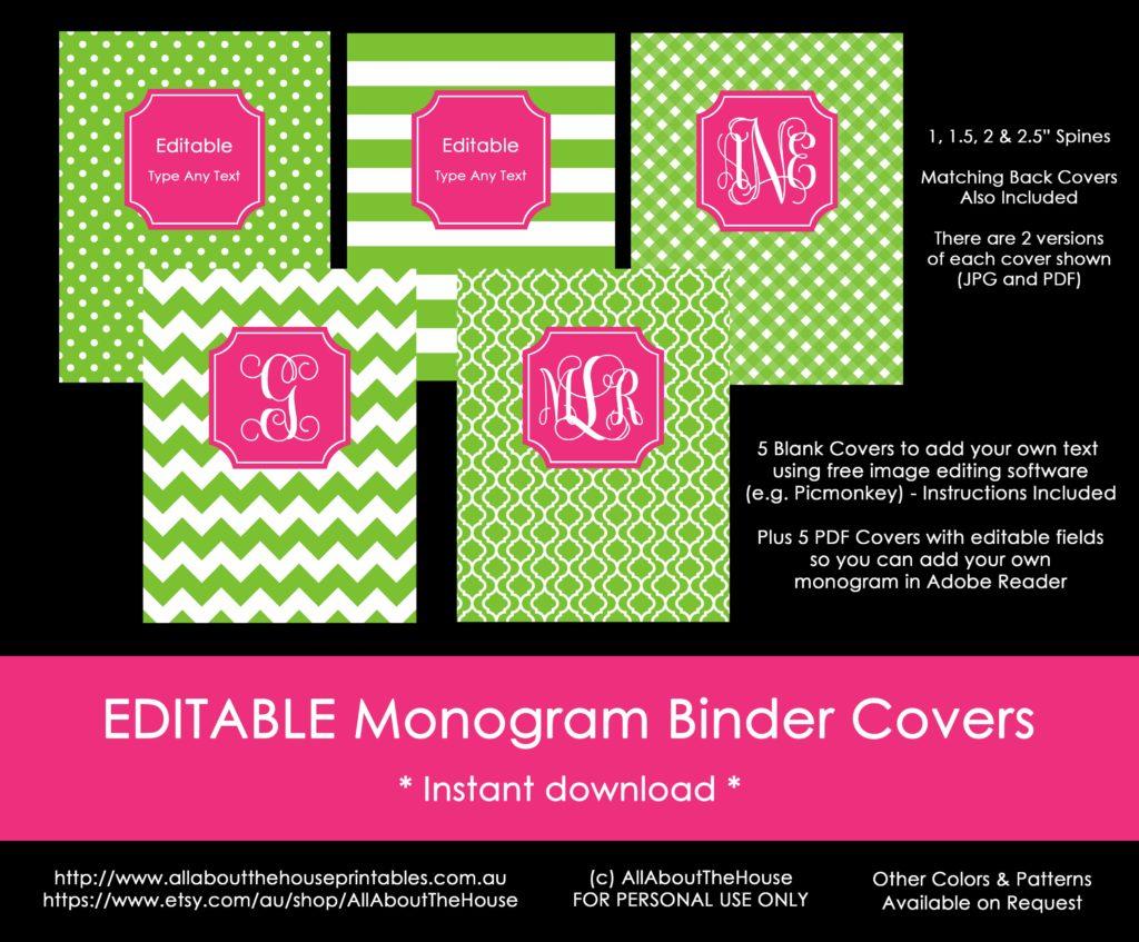 Monogram Binder Cover printable pink green preppy chevron gingham stripe polka dot quatrefoil editable instant pdf jpg personalised-min