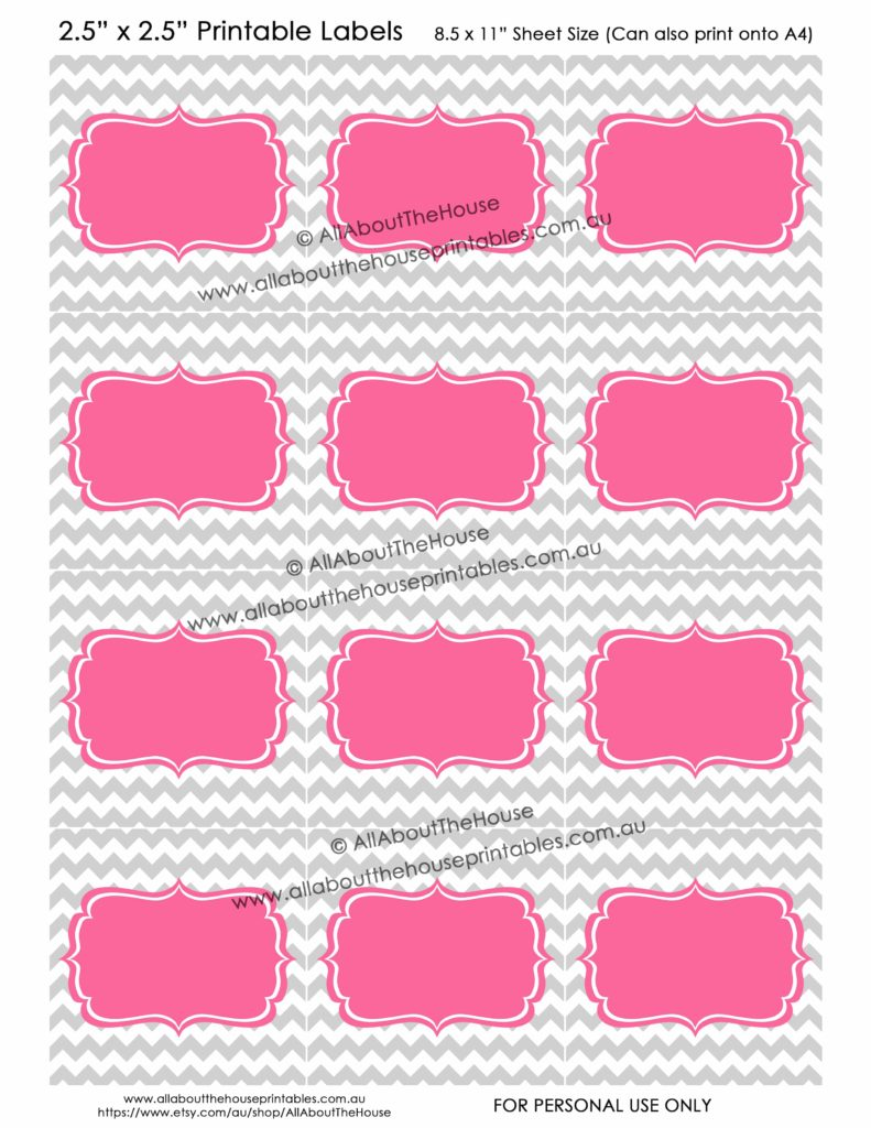 Pantry Labels - Grey Chevron Pink - Blank editable jpg pdf choose your own text organizing storage bin toy cleaning school sticker-min