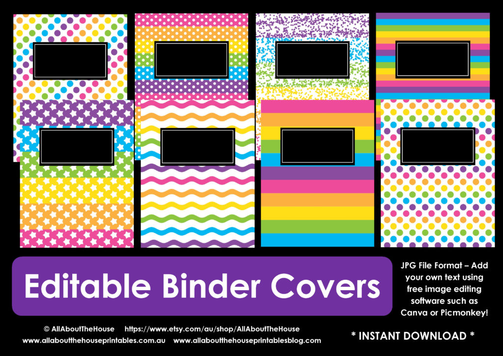 editable binder cover printable rainbow pdf fillable jpg girl school notebook cover home binder planner cover polka dots