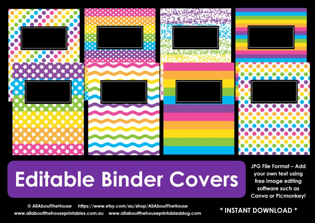 Personalising editable monogram binder covers for Home planning binder