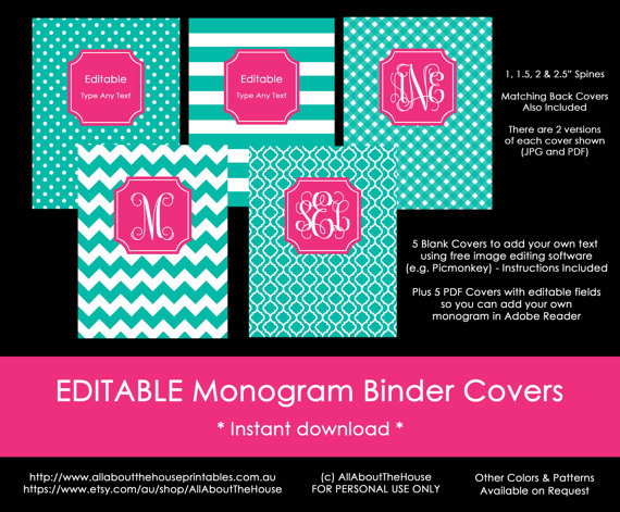 editable monogram binder cover printable notebook cover blue pink preppy school college home organization study editable polka dot chevron stripes