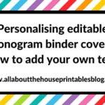 Personalising editable monogram binder covers