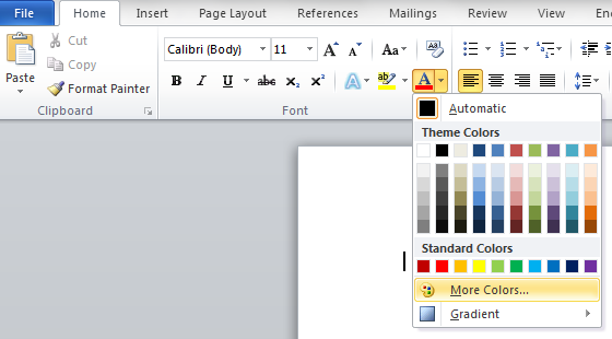 how to change text color in word choose custom colors