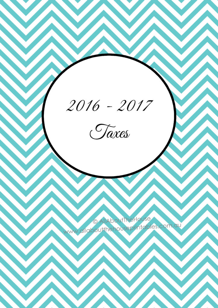 2016-17 Taxes binder Cover Spine printable planner organizer template editable fillable pdf household management