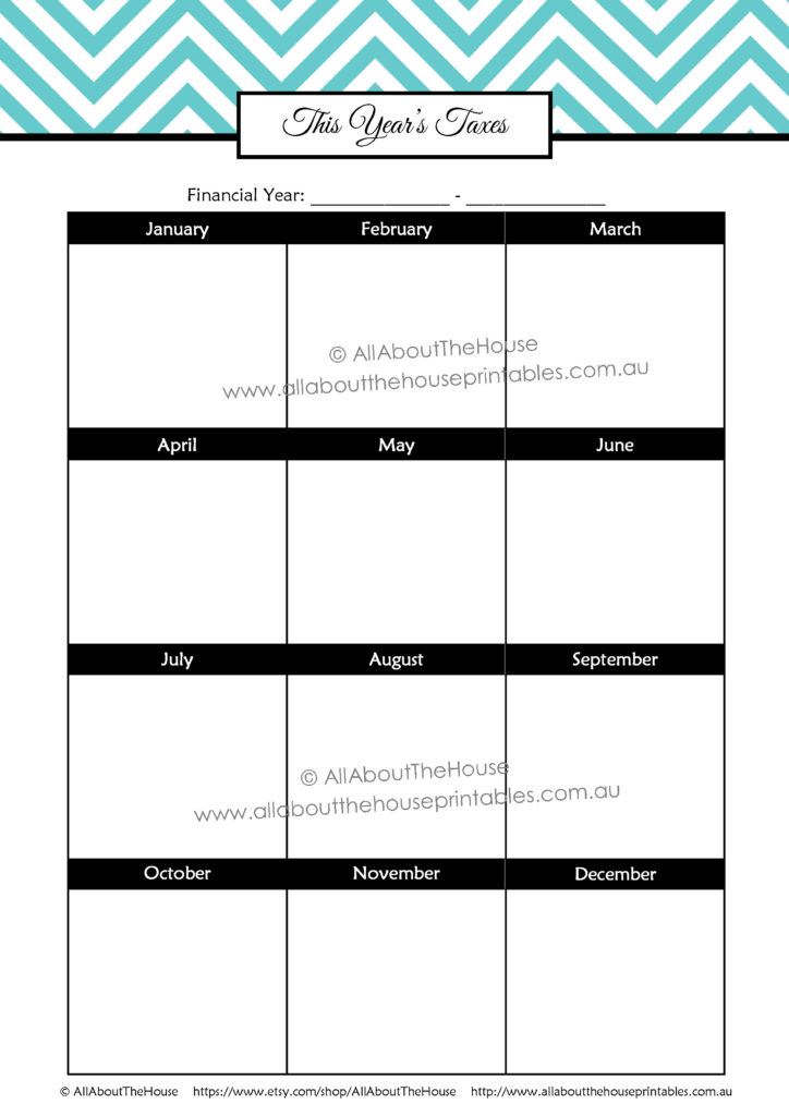 Due Date important dates annual planner calendar printable editable chevron household binder tax planning scheduling pdf