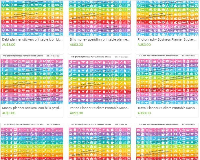 icon printable planner stickers allaboutthehouse planner accessory rainbow half inch square blog bill money period photography health fitness exercise work payday digital